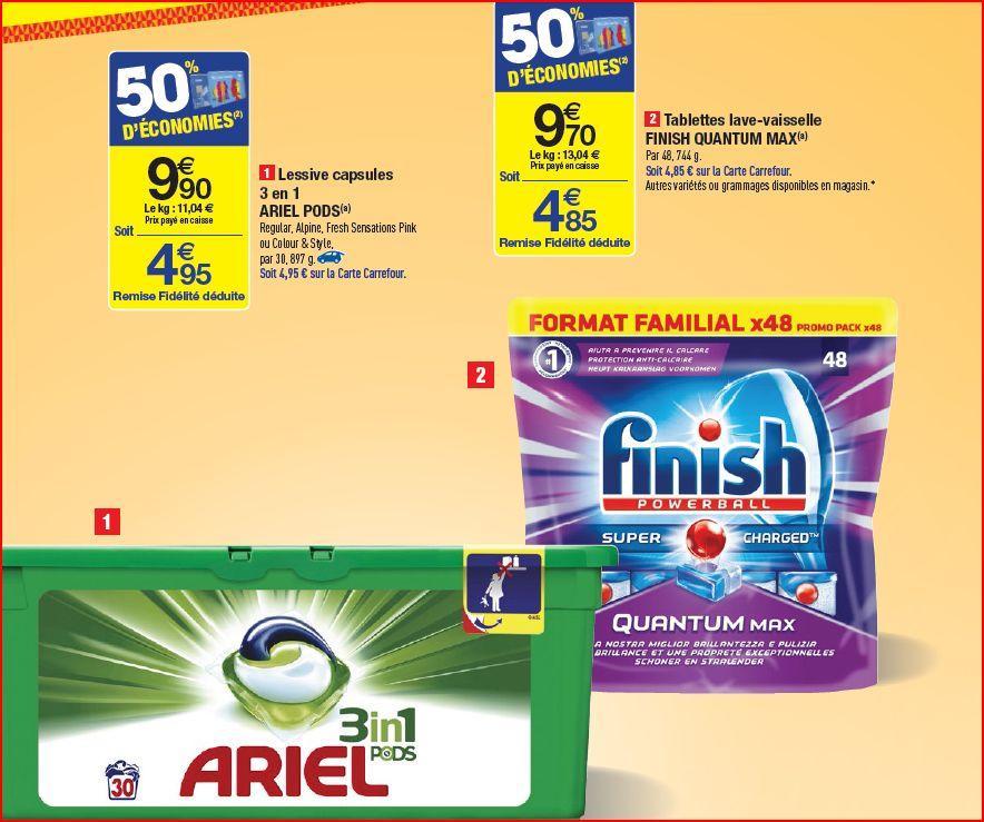 Sélection de produits en promotion - Ex: Lot de 30 Ariel Ecopods 3-en-1 (Via carte de fidélité + BDR)