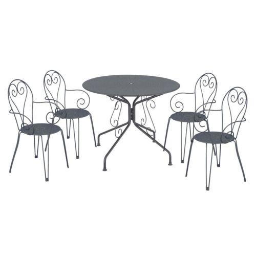 Ensemble de jardin Romantique (1 table + 4 chaises) - blanc ou noir
