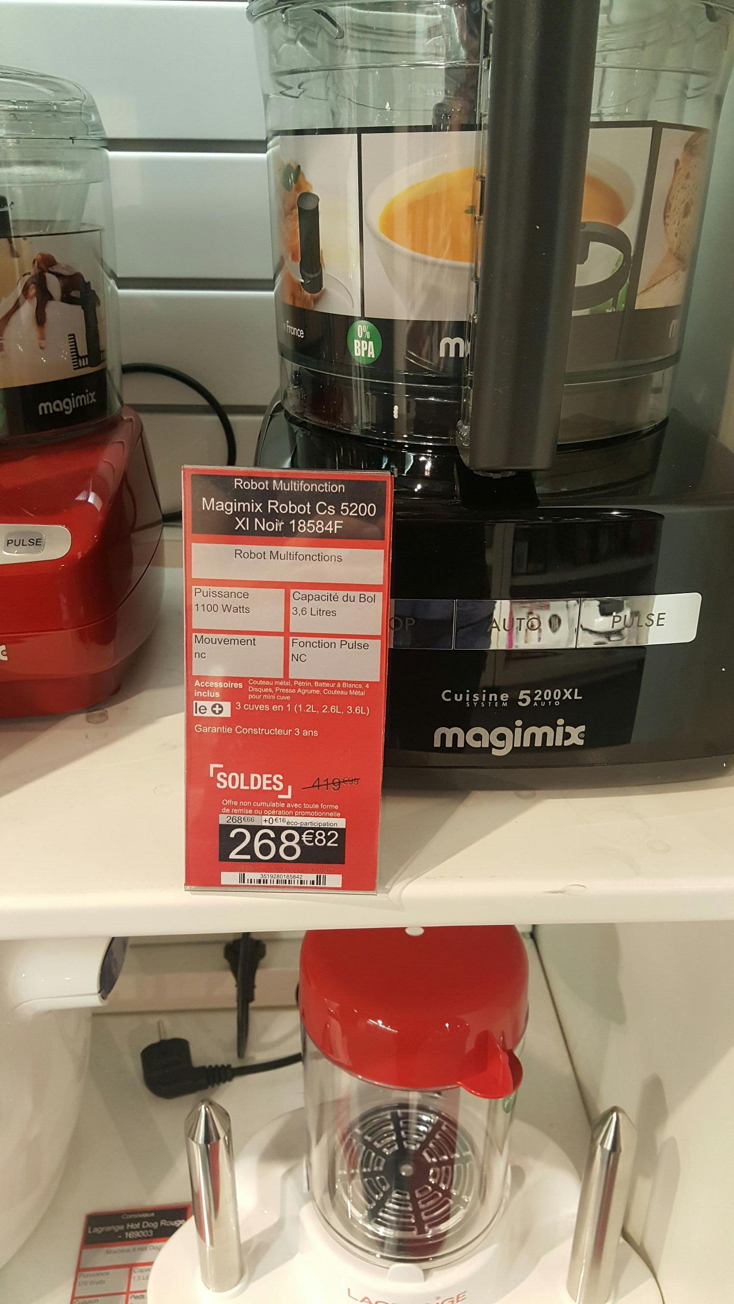 Robot multifonction Magimix cs5200 XL - Noir