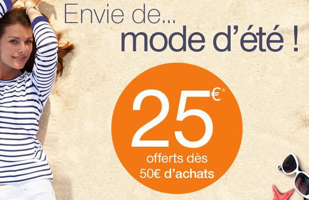 25€ de réduction dès 50€ d'achat