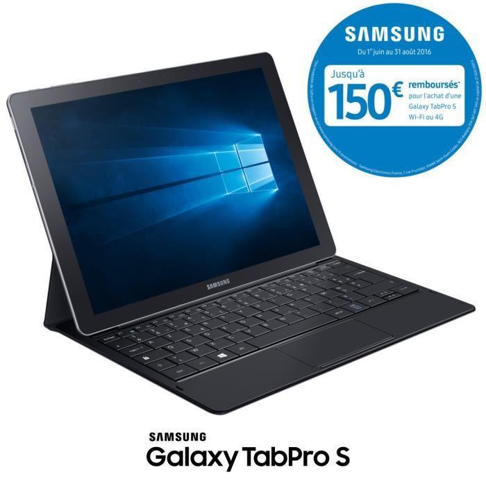 """Tablette 12"""" Samsung Galaxy TabPro S + Clavier + 155€ (ou 310€) en 2 bons d'achat via application (avec ODR 150€)"""