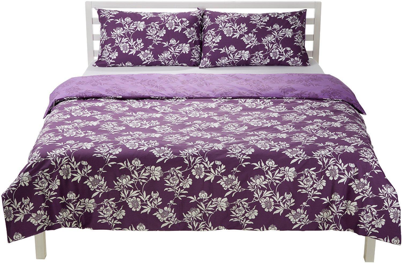 Parure de lit Motif floral réversible AmazonBasics : Housse de Couette  135 x 200 cm & 1 Taie 80 X 80cm