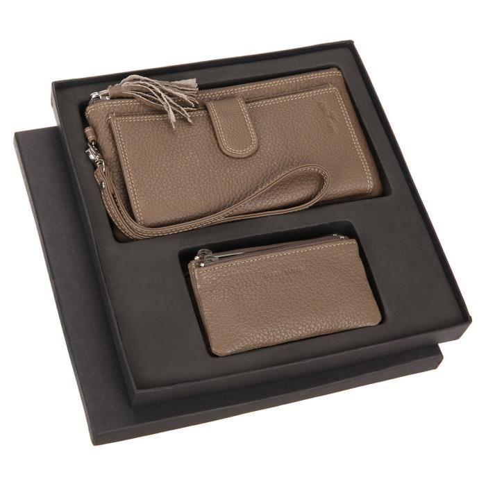 Portefeuille femme cuir Alfie James + Porte-monnaie - Taupe