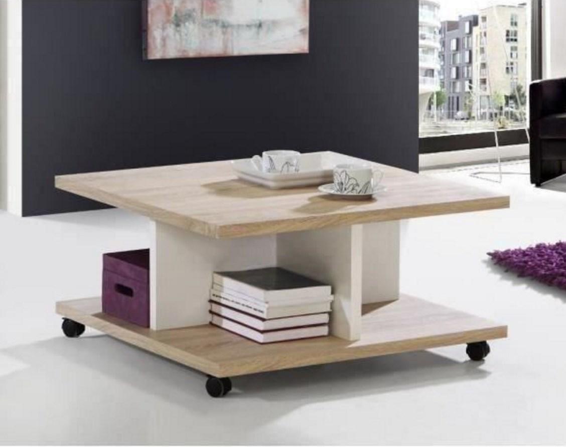 Table basse Finlandek Raju - Blanc/Beige, 75x75x39.5cm