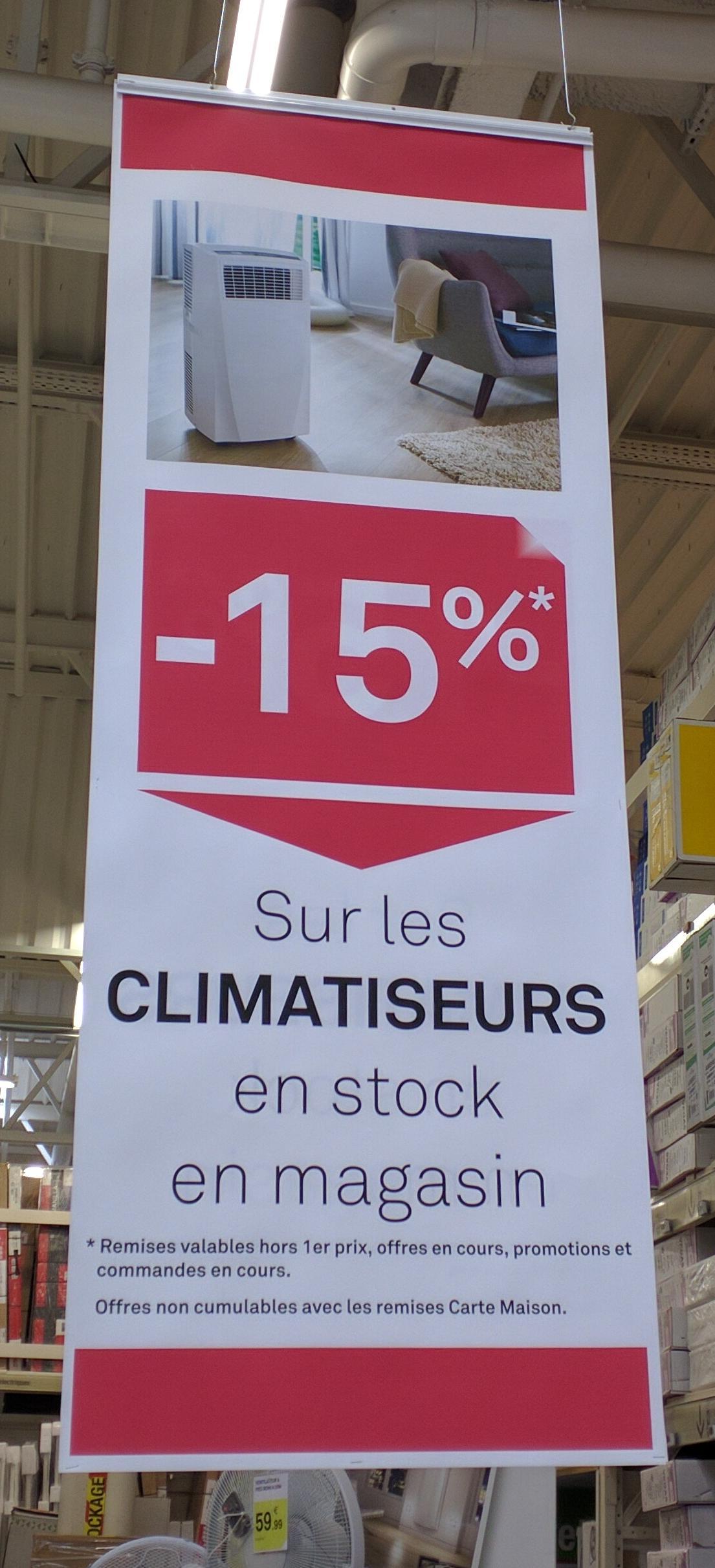 15% de réduction immédiate sur tous les climatiseurs mobiles (hors exceptions)