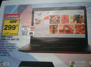 "PC portable 14"" Lenovo U41-70 - Intel i3-4005U, 4Go de Ram, 500 Go"