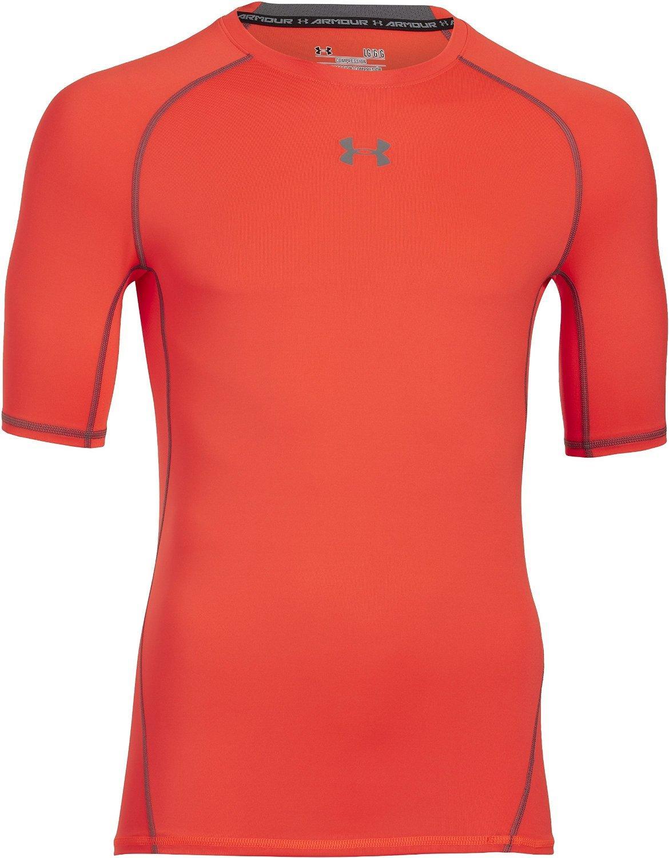 T-Shirt de compression Under Armour pour Homme - Manches courtes, Orange (Taille XL)
