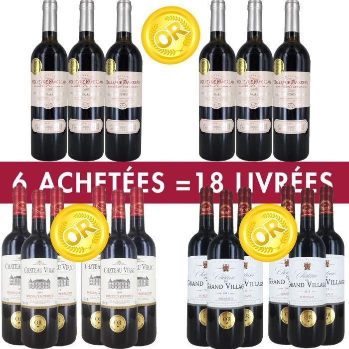 Pack de 18 bouteilles de vin rouge Bordeaux médaillés (+ jusqu'à 13.68€ en bon d'achat)