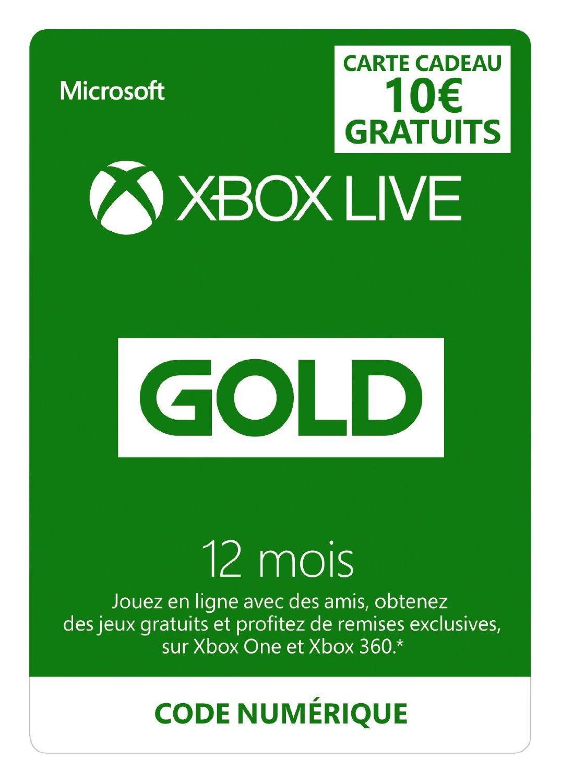 [Premium] Abonnement Xbox Live Gold 12 mois + 10€ offerts sur le Xbox Live