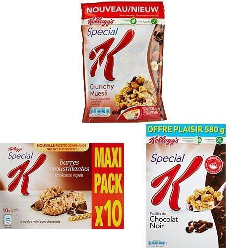 [Premium] Pack Special K Kellogg's : 6 paquets Crunchy Muesli Chocolat-Noisettes / Chocolat Noir + 3 paquets Barre Céréales Chocolat