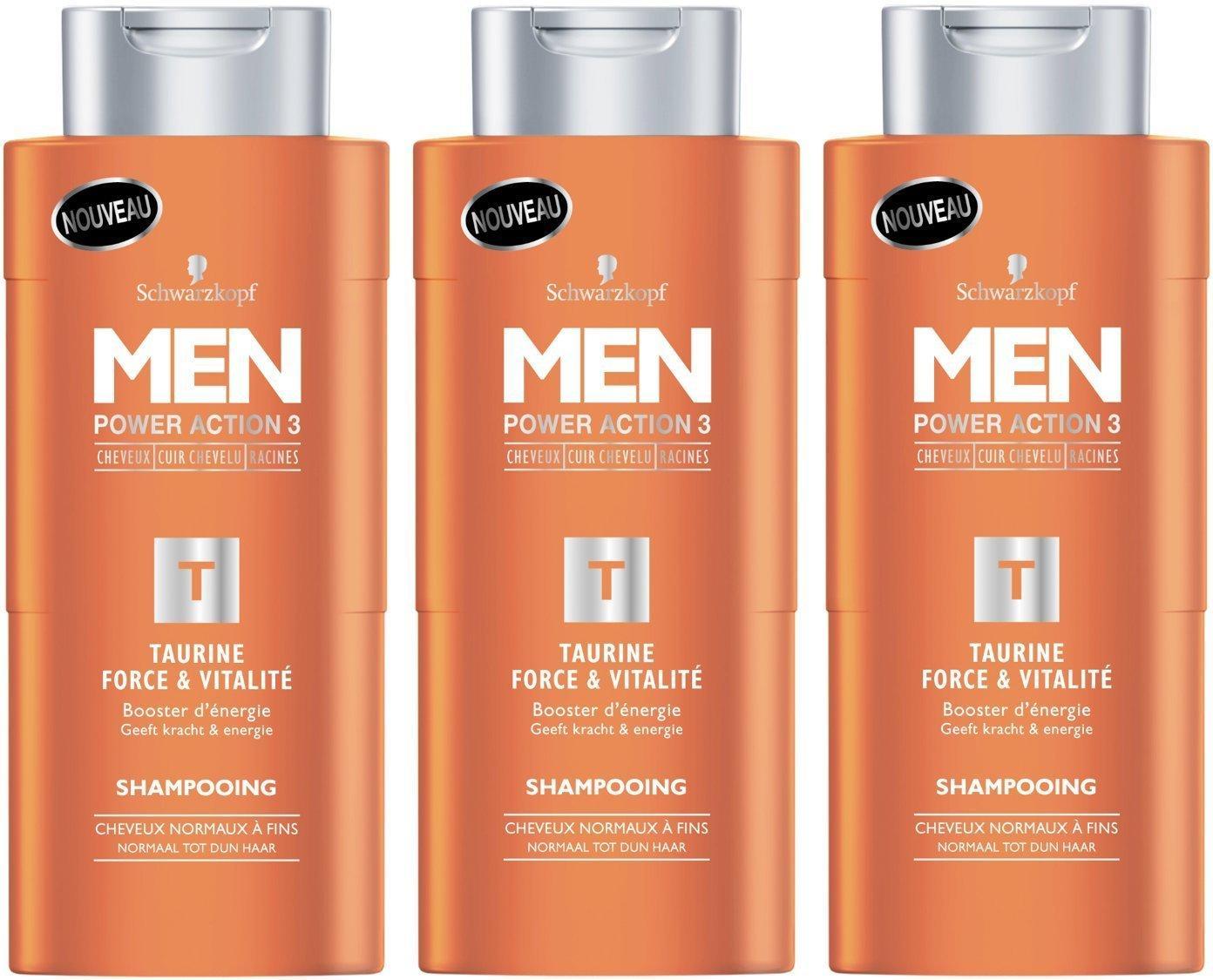 [Premium] Lot de 3 Bouteilles de Shampooing Schwarzkopf MEN Force & vitalité - Taurine - 250 ml