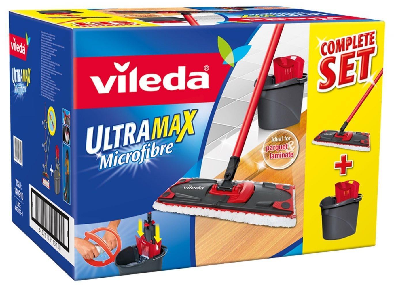 [Premium] Set Balai à Plat + Seau-Essoreur Vileda - 137431 - Ultra Max complète