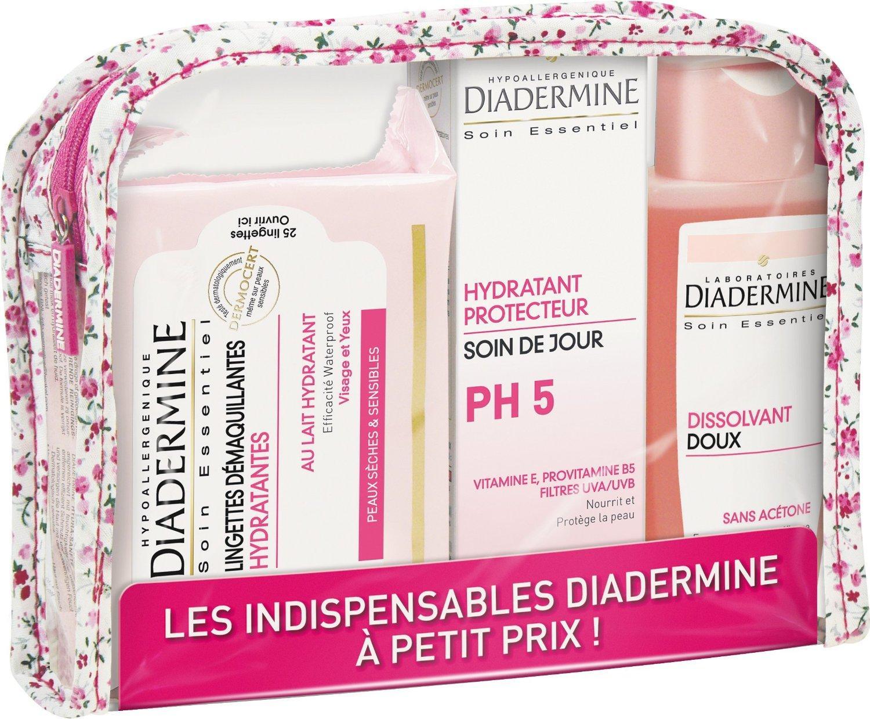 [Premium] Trousse Diadermine : Crème de jour hydratante PH5, Dissolvant et Lingettes démaquillantes 175ml