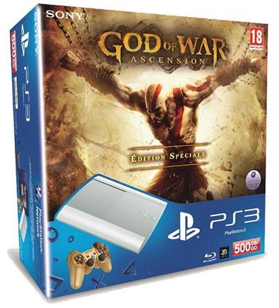 Offre Adhérent : Console Sony PS3 500 Go Blanche + God of War Ascension (Ou PS3 Bleue 500 Go + 3 Jeux)