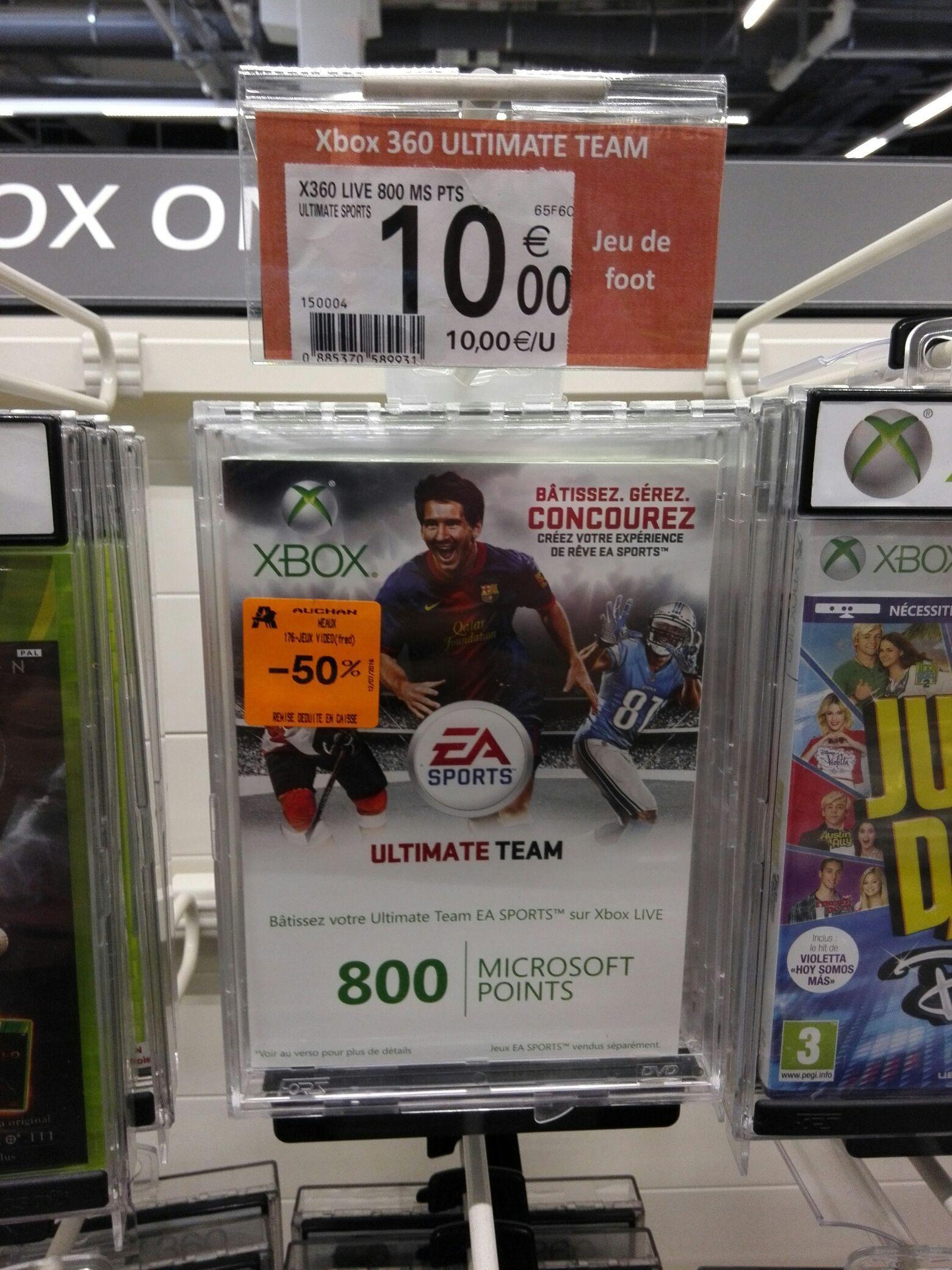 Carte Xbox Live 800 Microsoft Points (9.60€)