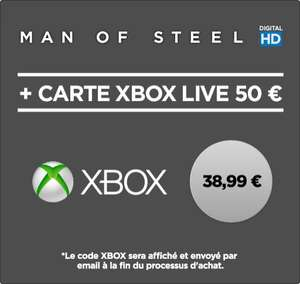 Carte Xbox Live de 50 € + Man Of Steel en HD