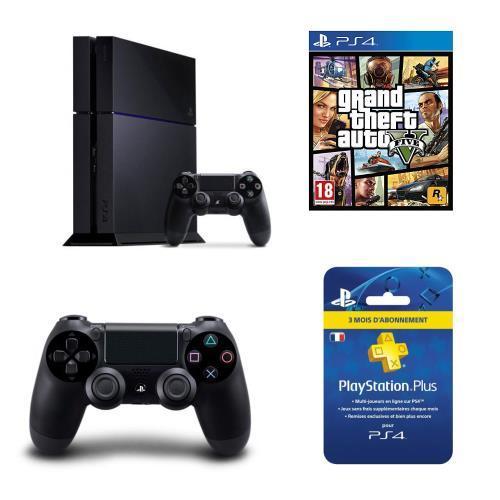 [Adhérents Fnac] Console Sony PS4 (500 Go, noir) + 2ème manette + GTA 5 + abonnement de 3 mois au PS Plus + 65€ sur le compte fidélité