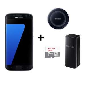 "Smartphone 5.1"" Samsung Galaxy S7 + Batterie externe 2200mAh + Carte microSDHC Sandisk 32Go + Chargeur QI"