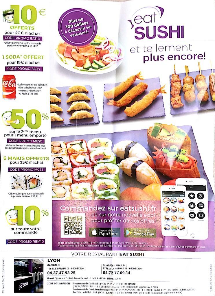 Sélection d'offres promotionnelles - Ex : Un menu emporté = -50% sur le second