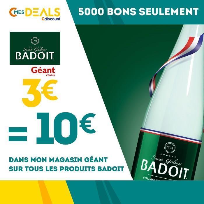 Bon d'achat de 10€ sur les produits Badoit (valable dans les magasins Géant Casino)