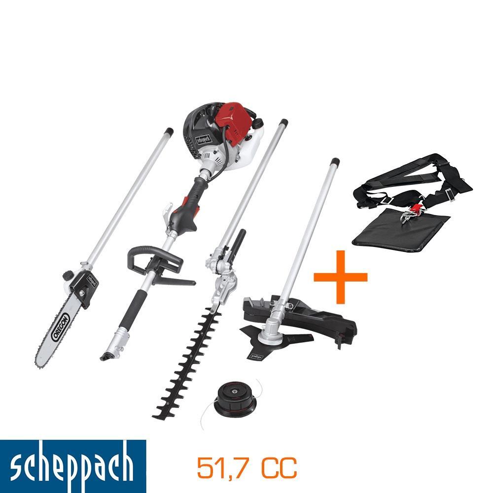 Débroussailleuse Scheppach 4 en 1 (51,7 cc, harnais double)