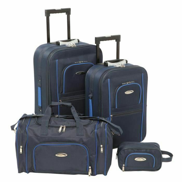 Set de 2 Valises Souple 2 Roues 54-64 cm + Sac Cabine 50 cm + Vanity 24 cm Bleu Challenger
