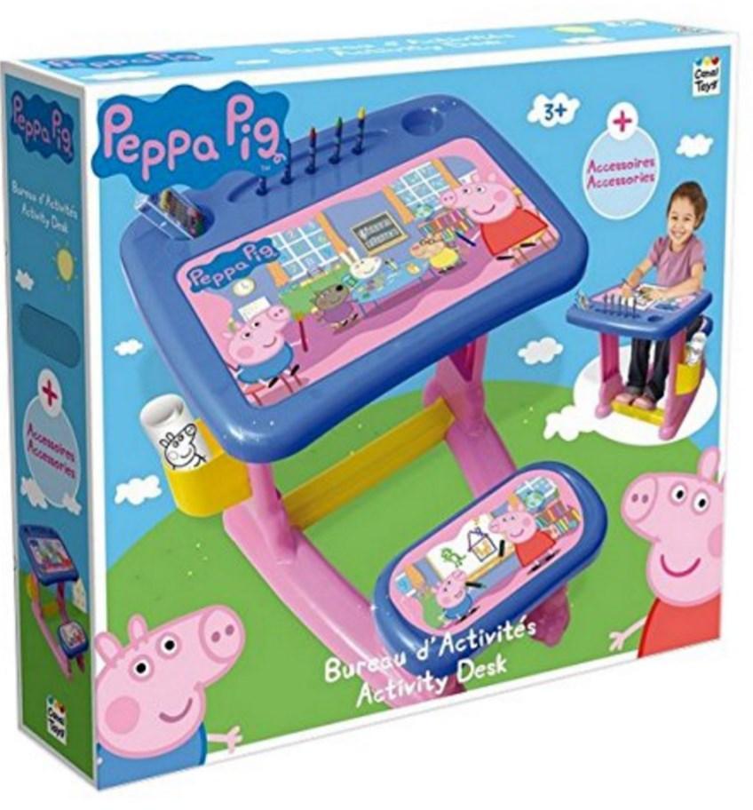 Bureau d'activités Peppa Pig + 10 feuilles de coloriage et 12 craies