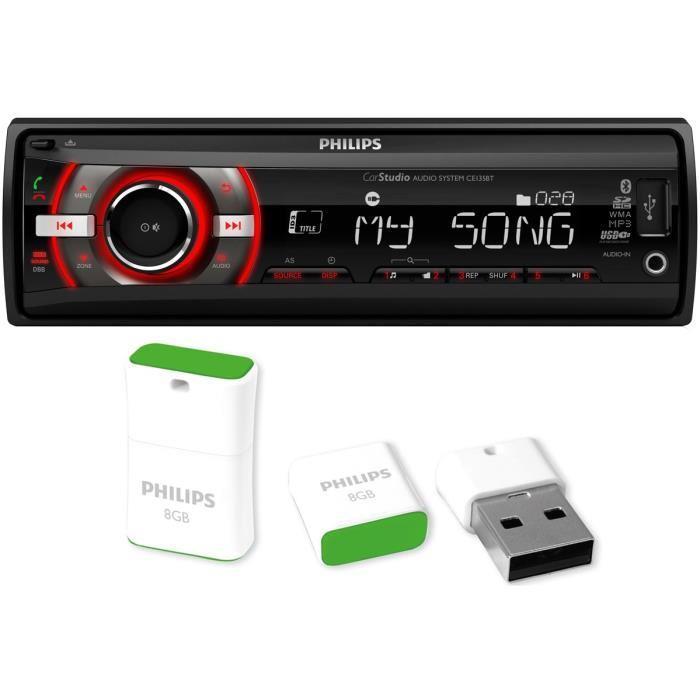 Autoradio bluetooth Philips CE135BTPK + Clé USB2.0 Philips Pico 8 Go