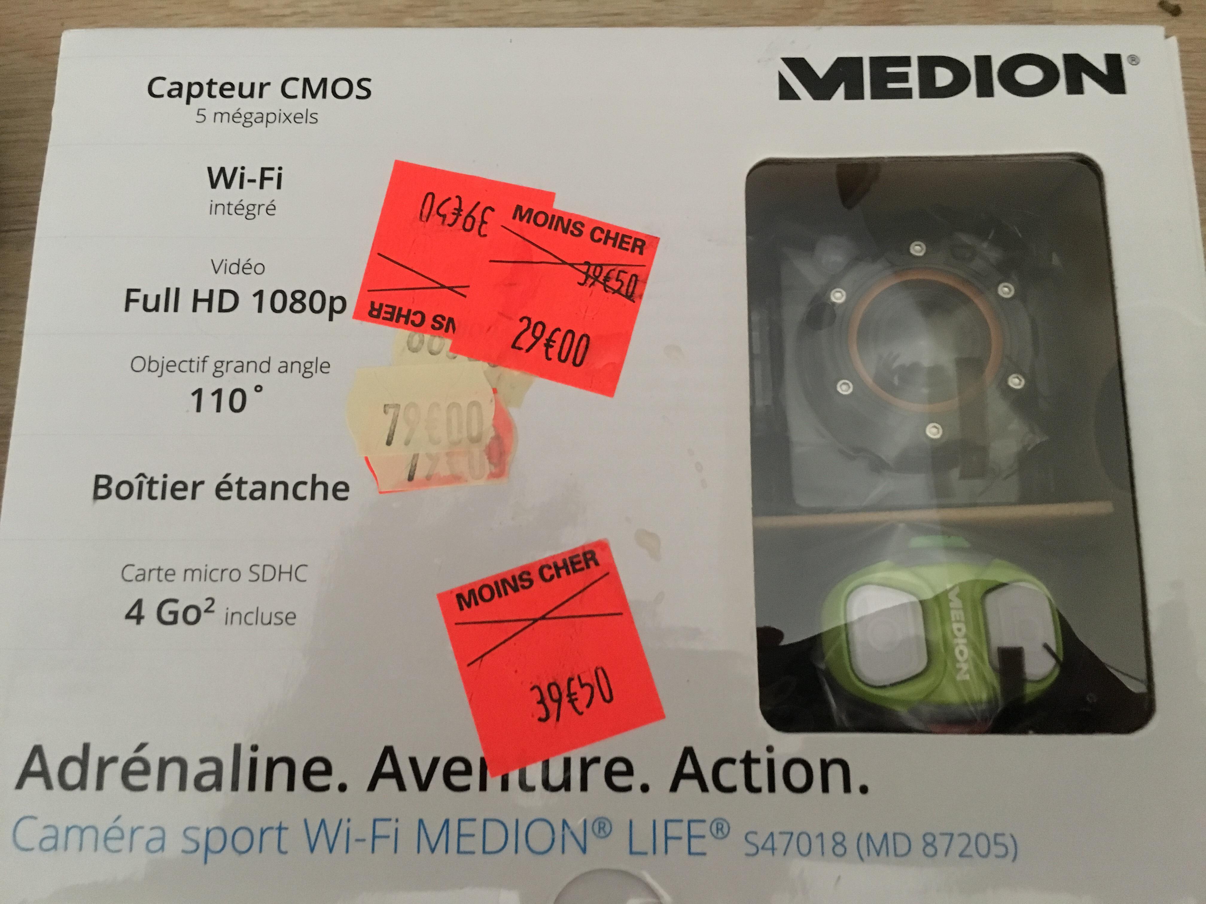 camera sport Medion Life S47018 avec boitier étanche et carte SD 4 Go
