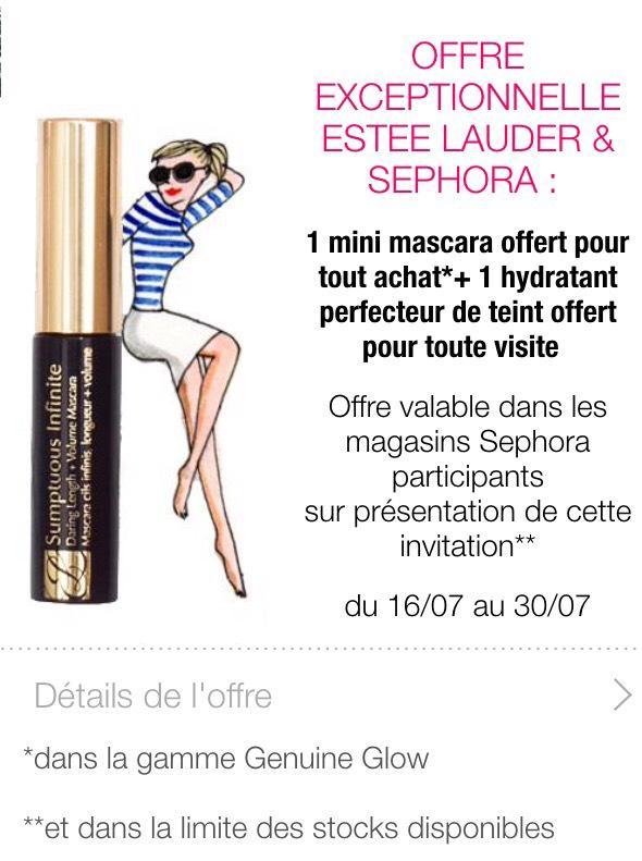 1 mini mascara Estee Lauder offert pour tout achat + 1 hydratant perfecteur de teint offert pour toute visite