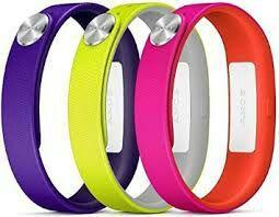 Pack 3 bracelets Sony pour SmartBand violet fucshia et jaune (taille L)