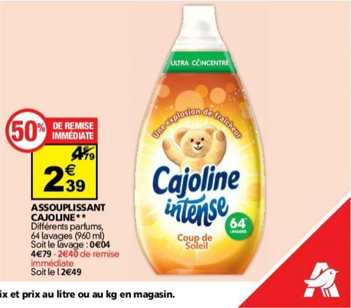 Adoucissant Cajoline Intense 64 Lavages (50% Remise immédiate + BDR)