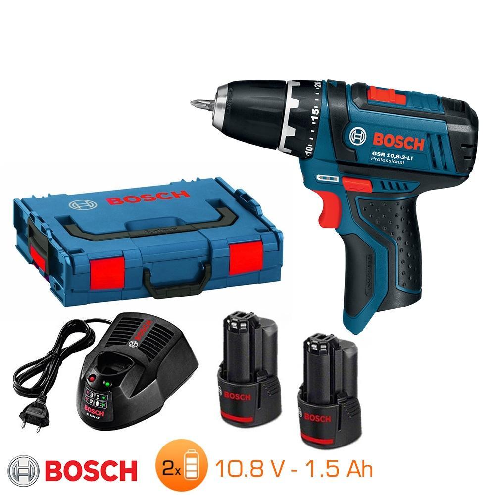 Perceuse-visseuse Bosch 10,8V - 2 bat Li-Ion 1,5Ah + chargeur rapide + L-Boxx