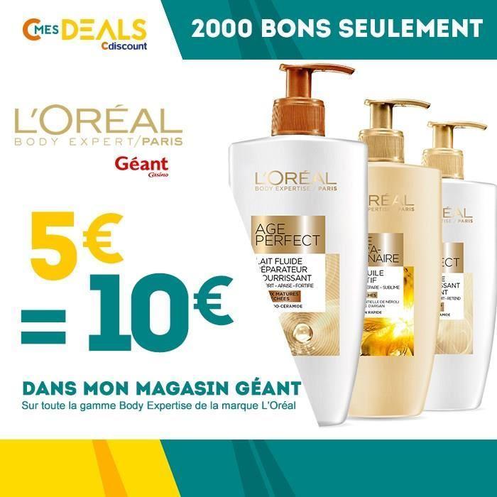 Bon d'achat de 10€ sur la gamme L'Oréal Body Expertise (valable dans les magasins Géant Casino)