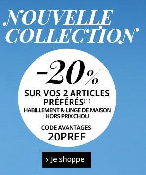 20% de réduction sur 2 articles de la nouvelle collection (les 2 plus chers du panier)