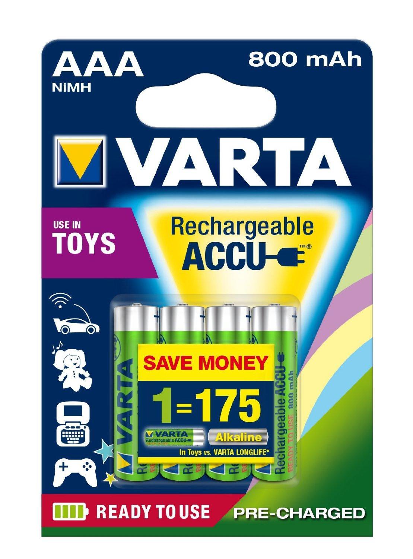 [Panier Plus] Lot de 4 piles AAA rechargeables Varta Toy Ready2Use (800mAh)