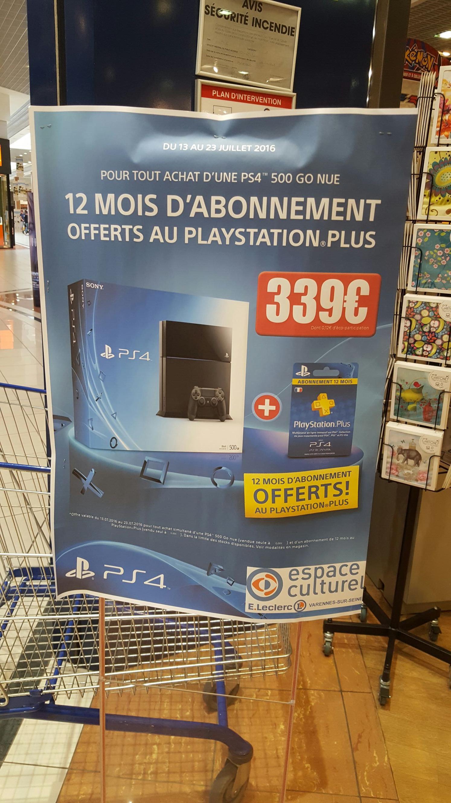 Console Sony PS4 + 12 mois d'abonnement PS Plus