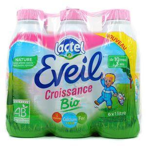 Pack de lait de croissance Lactel Eveil Bio (6x1 L)