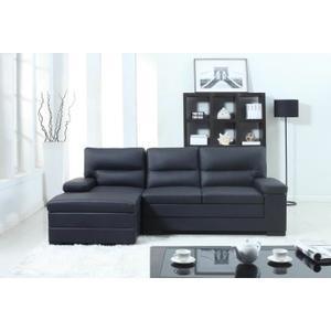 Canapé d'angle droit cuir et simili (241cmx155cmx9cm4) noir