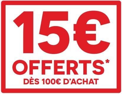 15€ offerts en bon d'achat dès 100€ d'achats sur une sélection d'univers