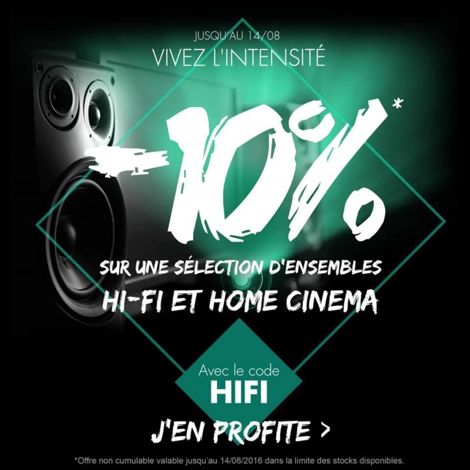 10% de réduction sur une sélection d'ensembles Hi-Fi et Home-Cinéma