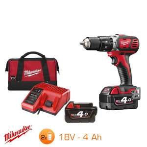 Perceuse à percussion Milwaukee M18BPD-402C 18V - 2 batteries RedLithium-Ion 4Ah + Chargeur + Sac