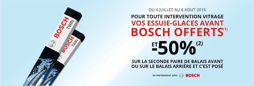 Paire de Balais d'Essuie-glace Avant Bosch offert pour une réparation ou un changement de Pare-brise