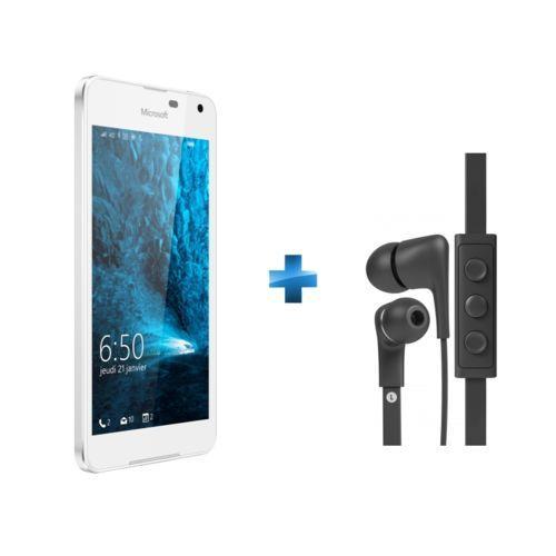 """Smartphone 4"""" Microsoft Lumia 650 (blanc) + écouteurs intra-auriculaires a-Jays Five (via ODR de 50€)"""