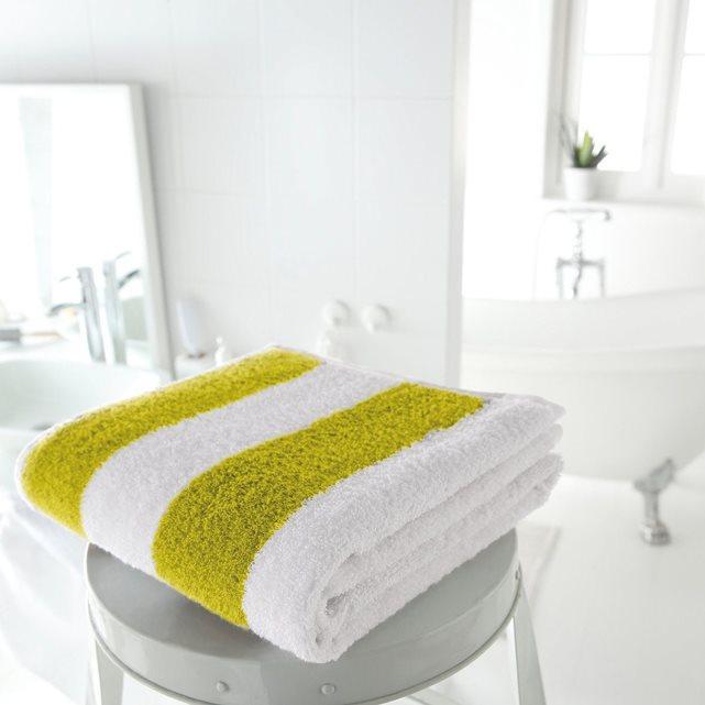 Serviette de bain rayée 500 g/m² - Bleu ou Vert