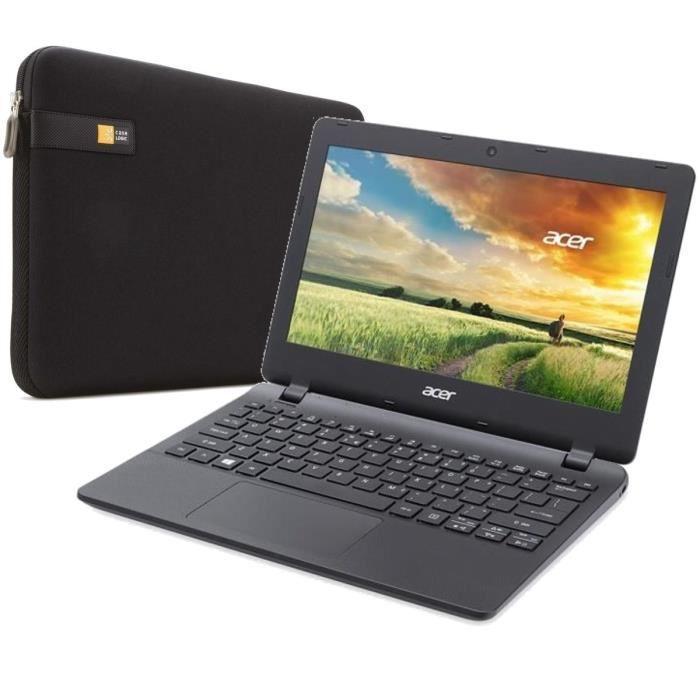 """PC Portable 11.6"""" Acer Aspire ES1-131-C10X - Intel N3050, 2 Go de Ram, 32 Go eMMC + Housse Case Logic"""