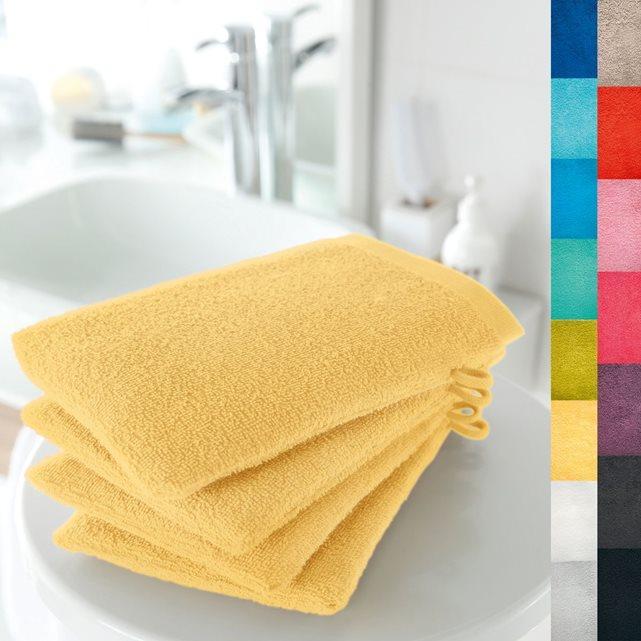 Sélection de Linges de Bain en promotion - Ex  Lots de 4 Gants de toilette (15 x 21cm, 420 g/m², Jaune)