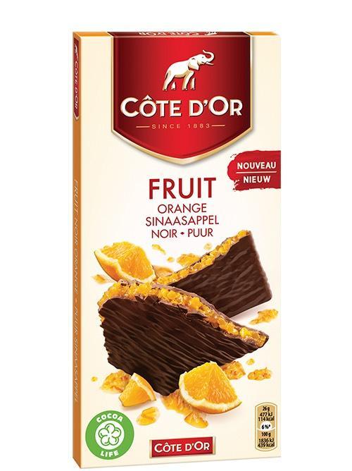 Tablette de Chocolat Noir fourrée aux Fruits Côte d'Or (Citron, Fruits rouges ou Orange) - 130g (Via carte de fidélité + BDR)