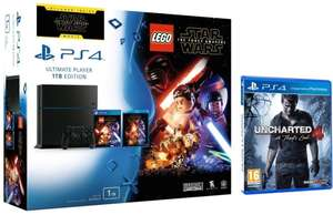 Console Sony Playstation 4 1 To + Jeu Lego Star Wars The force awakens + Uncharted 4 + Blu-ray Star Wars the force awakens