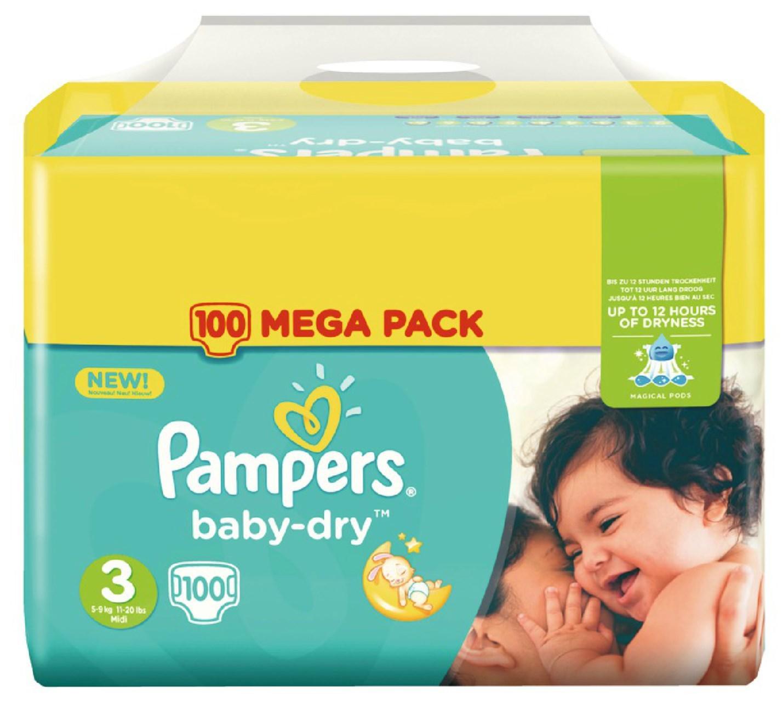 2+1 sur une sélection de couches Pampers - Ex : 3 Packs de 100 couches Pampers BabyDry - Taille 3